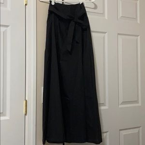 Black belted maxi skirt